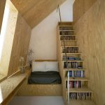 Small Plywood Loft Bed Idea For Slanted Roof Room Ladder Bookshelves Idea
