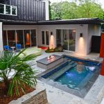 Small Rectangular Pool Outdoor Fireplace Natural Stone Pavers Fountains