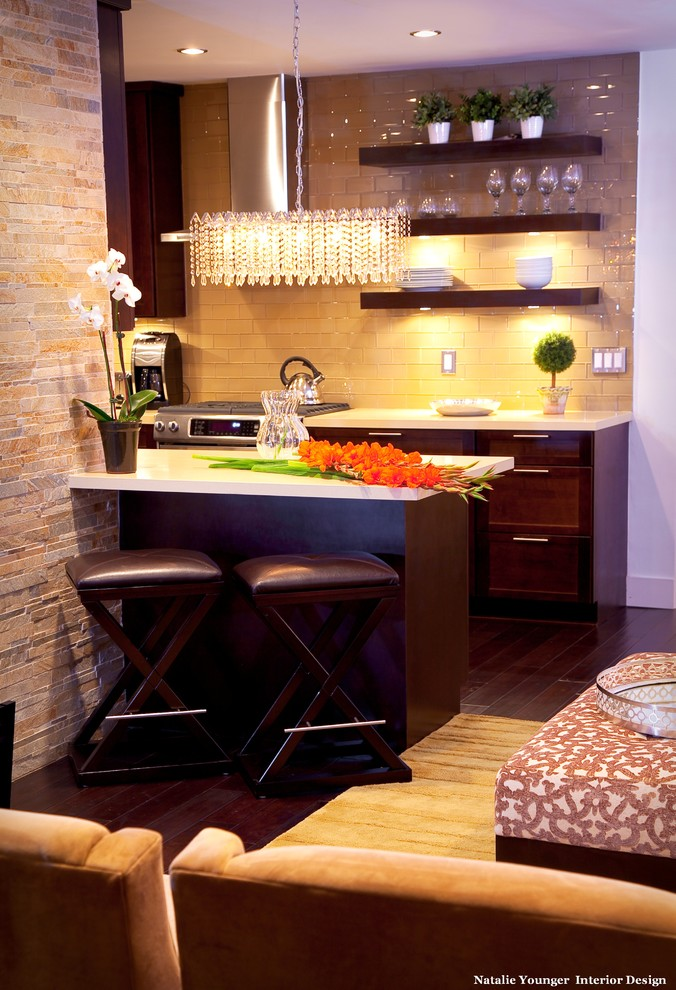 small table for small kitchen with dark brown wood legs and white counter top similar to the kitchen
