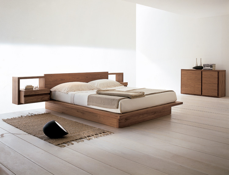 solid wood platform bed design with integrated side tables hand knitted mat for bedroom simple \u0026 & Feel Your Ultimate Sleeping with These Tens of Cozy \u0026 Simple Wood ...