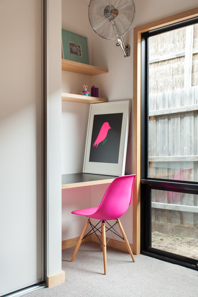 students furniture for studying pink chair built in desk painting door electric fan shelves