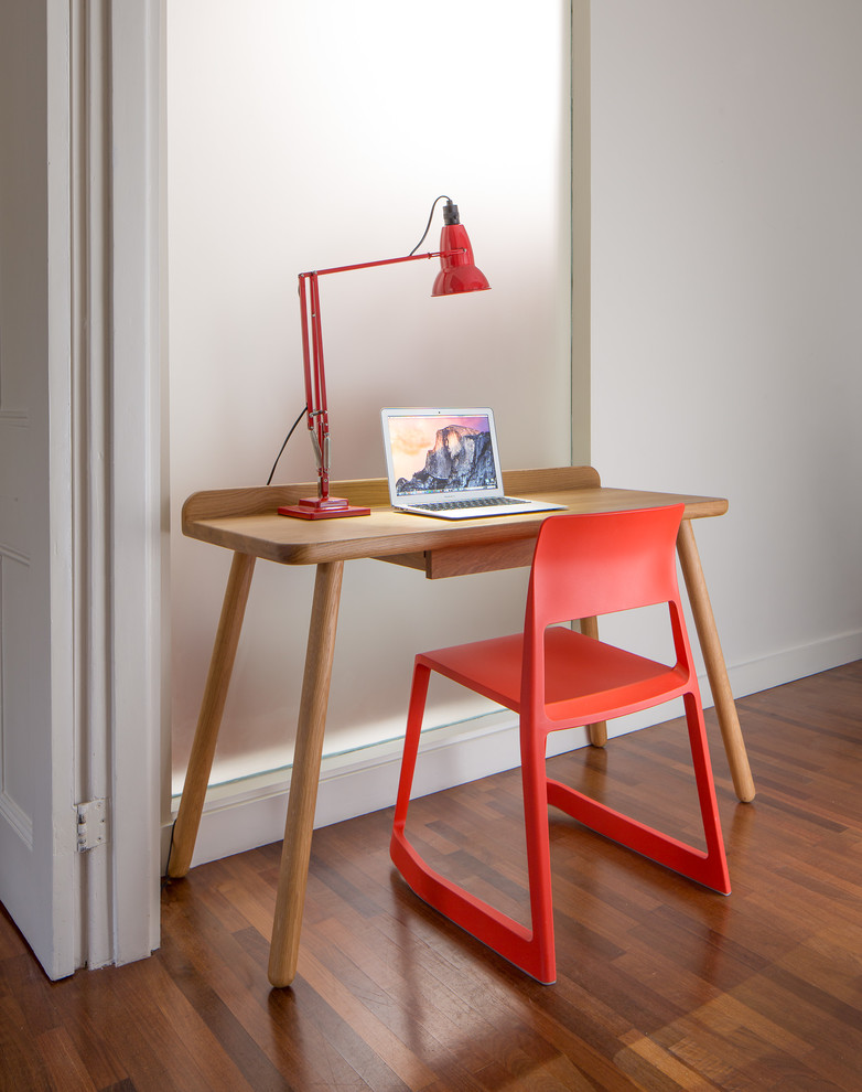 students furniture for studying red chair freestanding desk with long legs lamp wood floor laptop