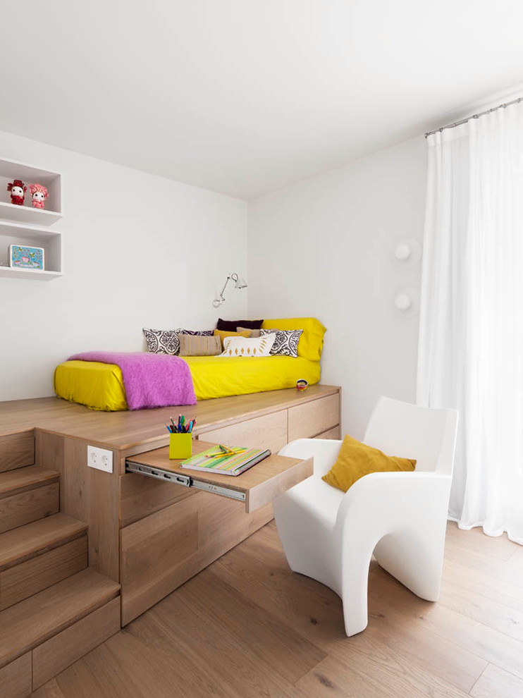 stylish bedroom design with kids stairs underbed storage pillows chair curtain wood floor contemporary room shelves