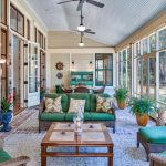 Sunroom With Ceiling Fan, Two Rattan Table Sets With Green Cushion, Green Wooden Cabinet, Wooden Coffee Table