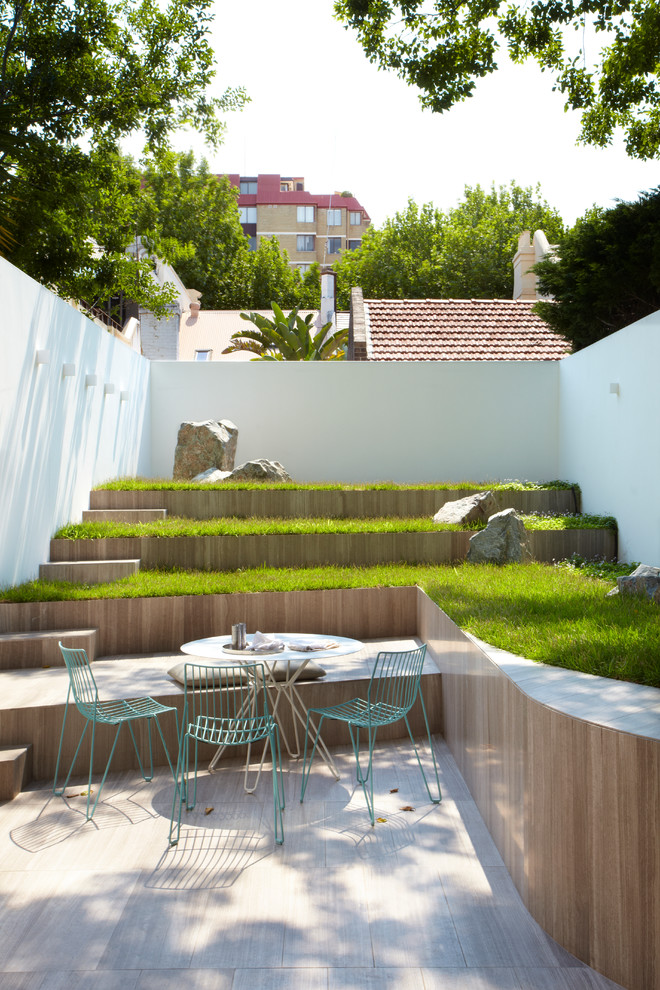terrace color house green white light blue chairs table grass walls wood contemporary design