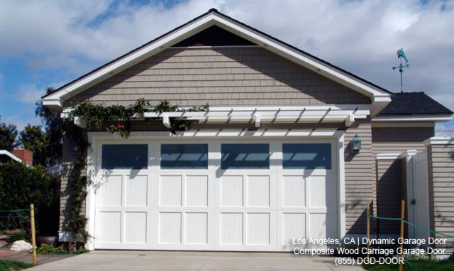 Tiled Bronze Siding Square Window Plain Garage White Door Greenery