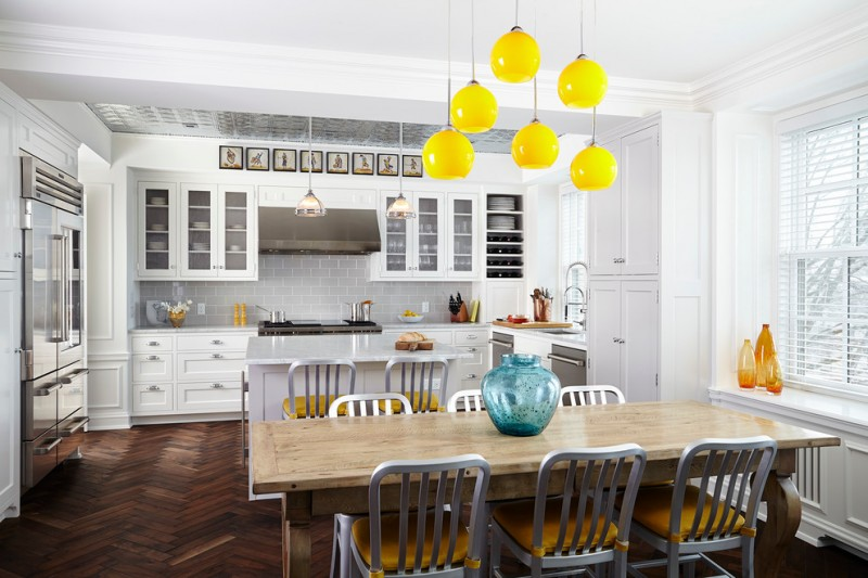 traditional dining room bright colour schemes windows wall cabinets chairs table hanging lamps yellow white brown