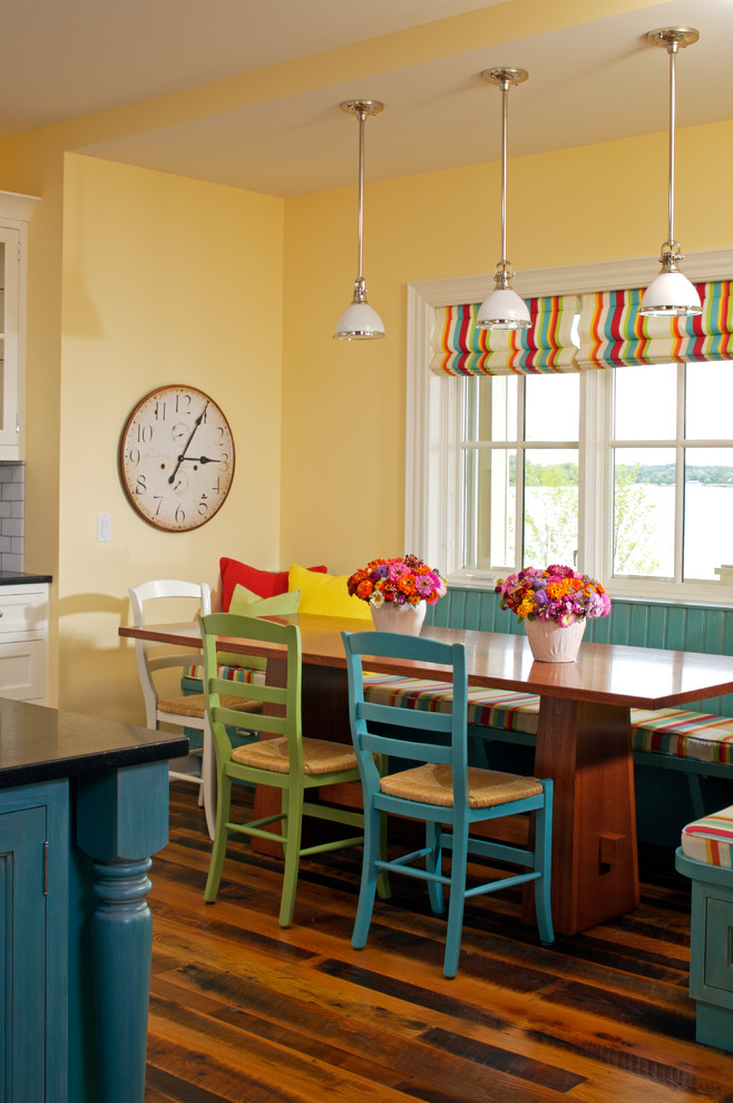 Traditional Dining Room Bright Colour Schemes Wood Floor Chairs Green Blue Window Table Pillows Red Yellow