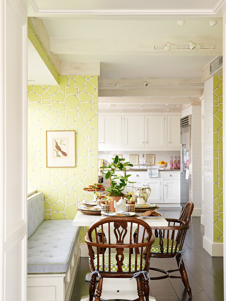 Traditional Dining Room Bright Colour Schemes Wood Floor Chairs Table Bench Wall  Cabinets Painting Light Green