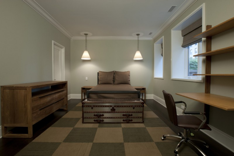 wall computer table bed pillows hanging lamps windows chair carpet shelves door chest storage item
