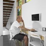 Wall Computer Table Chair Glass Door Stairs Ceiling Lamps Windows Modern Home Office Working Chairs