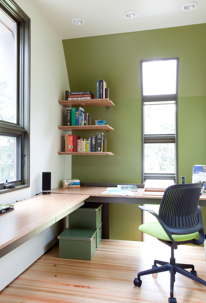 Wall Computer Table Chair Long Desk Window Wall Shelves Boxes Books Glass  Modern Home Office