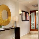 wall computer table modern hall painting wall lights  mirror flowers glass ceiling lamps space saving table