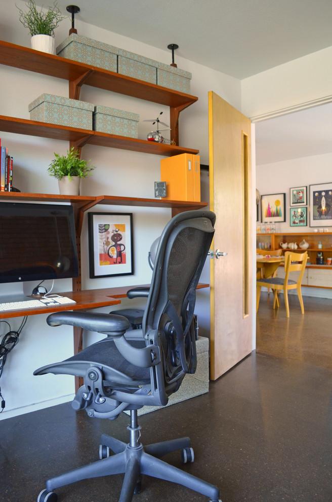 wall computer table shelves modern chair paintings mid century home office dark floor