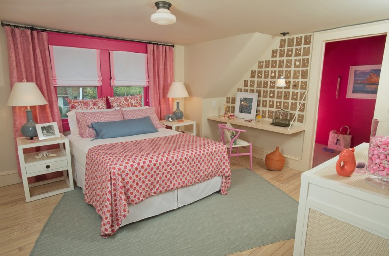 wall computer table traditional bedroom painting chair windows pink curtain drawer lamps bed pillows