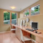 wall computer table windows drawers clocks chairs computer ceiling lamp contemporary home office