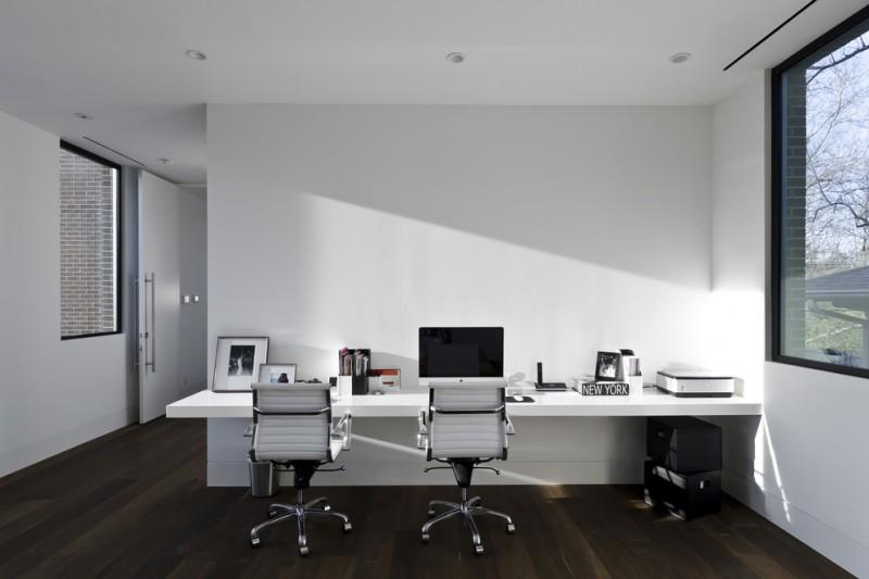 Beautiful Wall Computer Table Wood Floor Big Window Chairs Ceiling Lamps Door Modern Home  Office Design