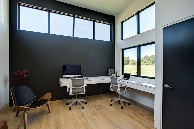 wall computer table wood floor chairs windows dark colored door contemporary home office dark wall