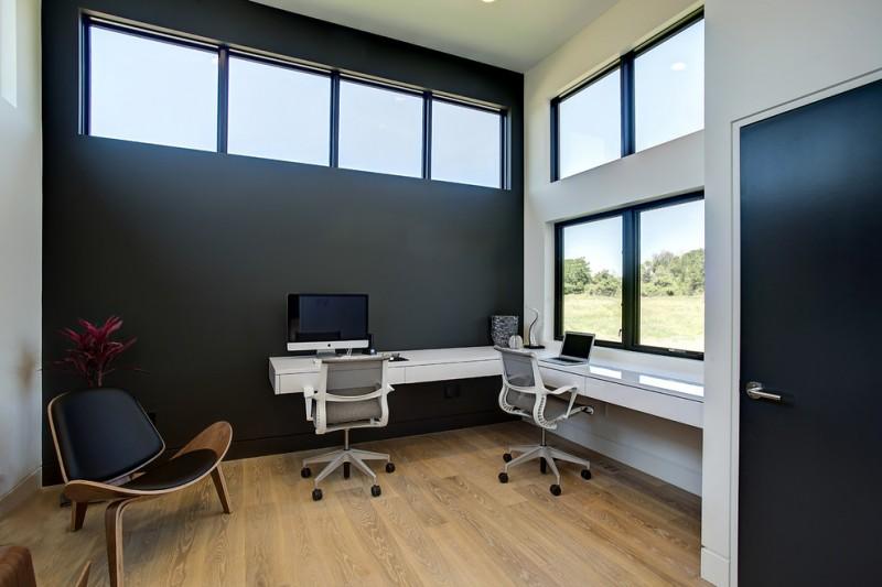 wall computer table wood floor chairs windows dark colored door contemporary home office dark wall