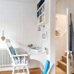 wall computer table wood floor door wall bookshelves chair wall mounted desk stairs wall decor beach style home office