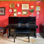 wall hangings for living room simple & artistic piano red wall eclectic room