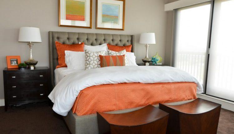 white beddings designs big windows table lamp pillows white orange contemporary bedroom