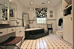 white black tiles black border tiles white and black shade white bathroom cabinet black chair pendant lamp