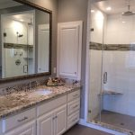 White Cabinet Exodus White Granite Bathroom Spacious Mirror Glass Door Ceiling Shower