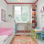 White Wall Paint Collaborated With White Bulletin Board Colorful Wall Arts Wite Bed Frame With Headboard Colorful Area Rug Small Wood Table With Blue And Green Chairs Narrow And Vertical Book Shelves