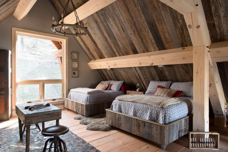 wood beds in attic room wood blast floors hardwood roofs in shabby look fluffy grey area rug shabby wood table and chair classic hanging lamp glass window with wood color frames