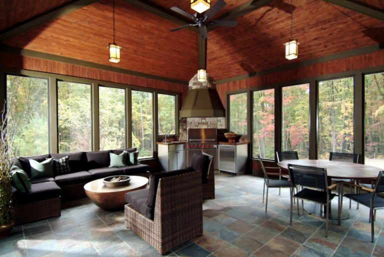 Inspirational four season porch ideas decohoms for Wood burning stove for screened porch