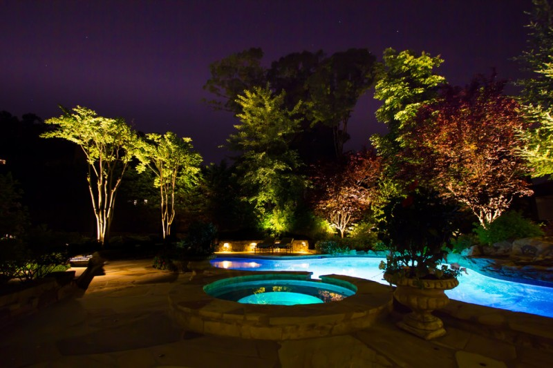 yard with round pool bigger pool lightings under the plants Landscape Lighting Specialist & Your Backyard with Paradise Lightings u2013 Decohoms azcodes.com