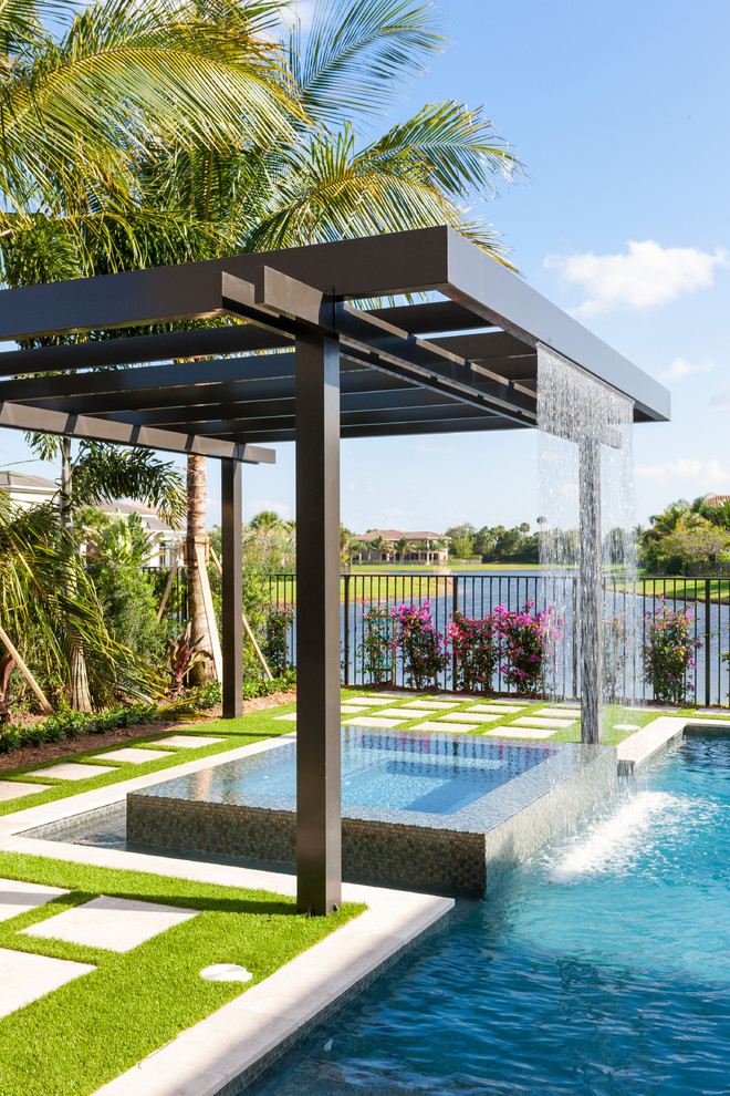 aluminum trellis for pergola with artificial waterfall small square pergola modern minimalist swimming pool idea
