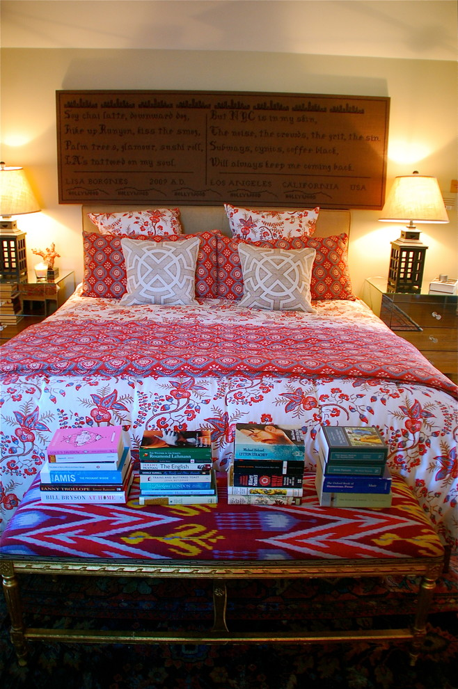 asian inpired bedding patterns books bedside tables lamps pillows eclectic bedroom