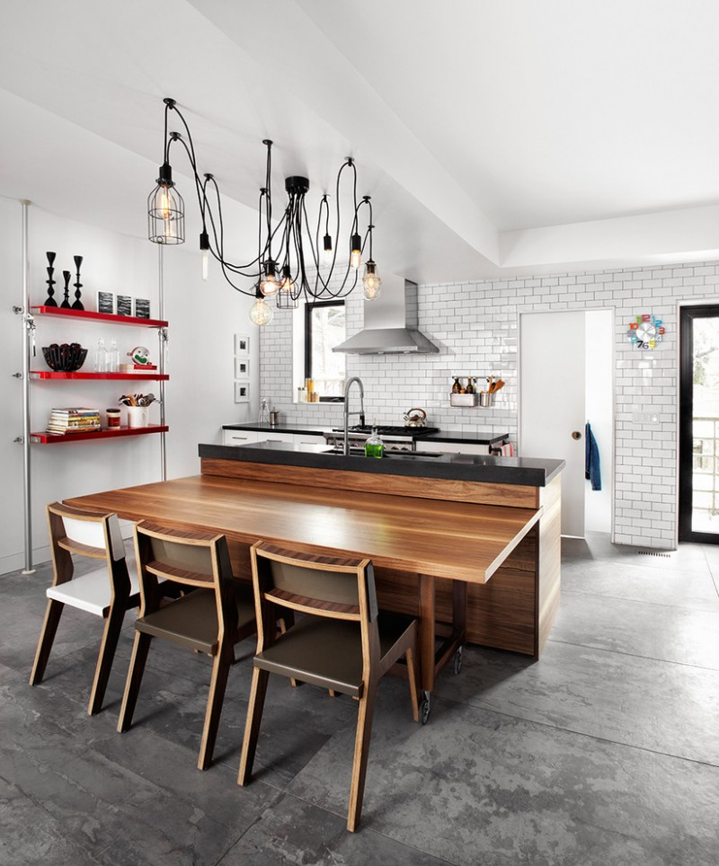 bar style kitchen table low back chairs standing shelves undermount sink subway tile backsplash cabinets island ceiling lamps porcelain floors industrial design