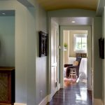 baseboard trim style hardwood floor chair window carpet door ceiling lights farmhouse hall