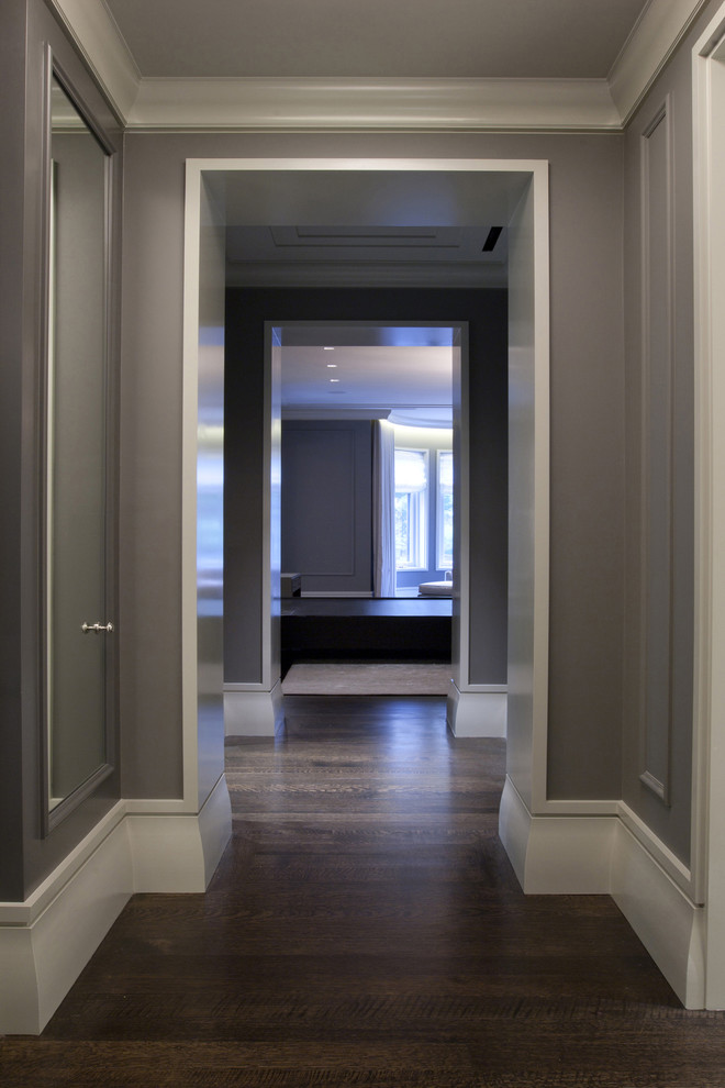 baseboard trim style hardwood floor walls interior ceiling lights contemporary style hall