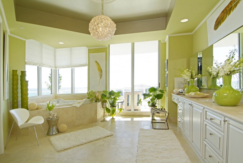 bathroom color trends chair windows flowers decorative plants ceiling lights bathtub contemporary room