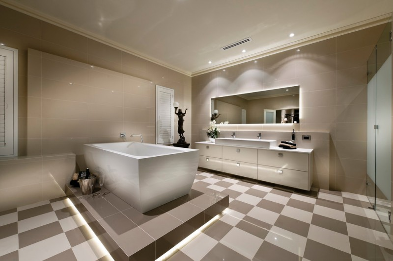 bathroom color trends glass doors double sink tile backsplash flat panel cabinets ceiling lights freestanding tub mirror decoration contemporary design