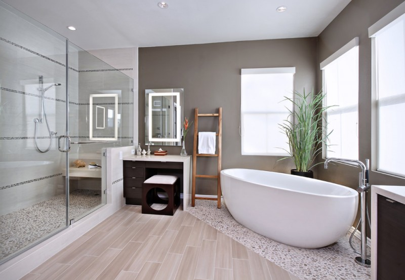 bathroom color trends shower dressing table double glass door tub wooden floor window vanities chair ceiling lights contemporary design