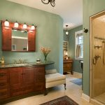 Bathroom Color Trends Wooden Cabinets Vanities Drawers Hanging Shelves Shower Carpet Towel Rack Traditional Design