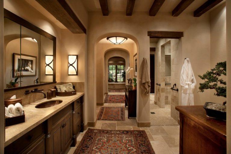 Bathroom Color Trends Wooden Vanities Cabinet Marble Countertop Single Sink Faucet Hanging Towel Rack Wall Lamps