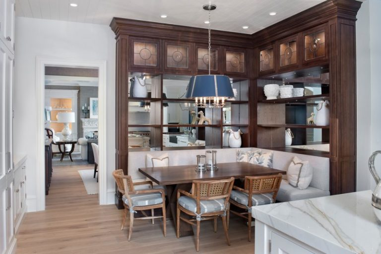 Beige Breakfast Nooks Wooden Table Chairs Blue Cap Hanging Lamp Corner  Cabinet Cream Wall White Marble