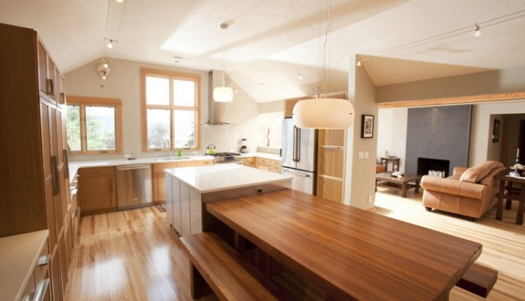 bench style kitchen tables cabinet couch benches wooden table hanging lamps windows contemporary design fridge stove faucet sink