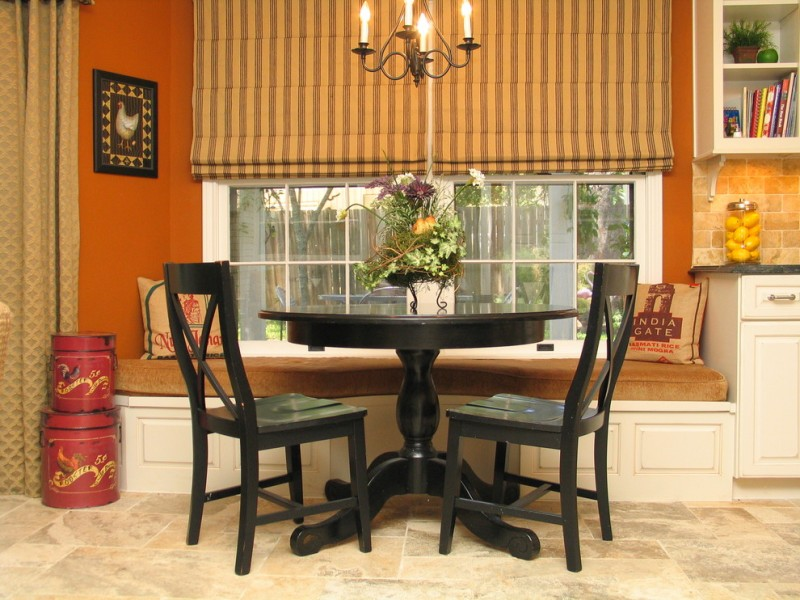 bench style kitchen tables round top table chairs window traditional design curtain shelves chandelier books throw pillows flowers