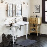 boho chic furniture dark floor sink faucet mirrors lamps baskets storage item window traditional bathroom