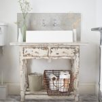 Boho Chic Furniture Drawers Faucet Lamps Plants Bathroom Interior