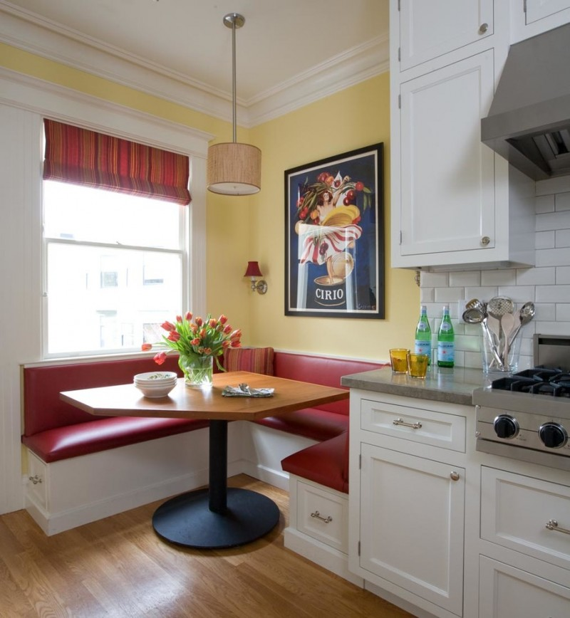 Red Kitchen Table: Booth Style Kitchen Table Ideas You Will Love