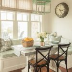 Breakfast Nook Benches Wall Clock Dining Table Low Back Chairs Glass Pendants Blinds Hardwood Floors Beach Style