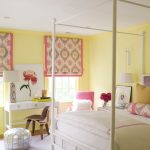Buttery Yellow Walls Idea Girly Prints On Curtains White Sleeping Properties White Bed Frame In Traditional Style White Working Table Wood Chair Silver Toned Bean Bag Chair White Ceiling